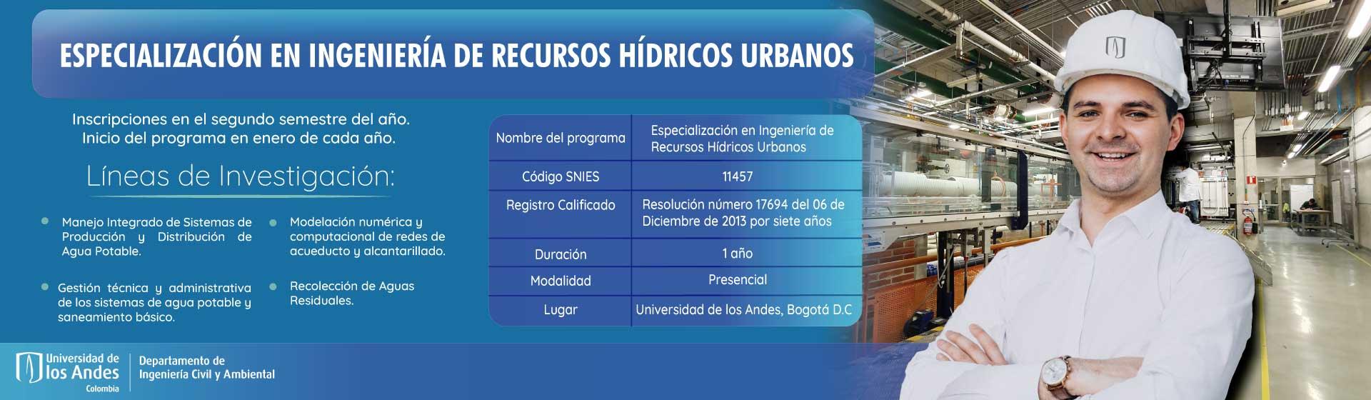 Especialización en Ingeniería de Sistemas Hídricos Urbanos