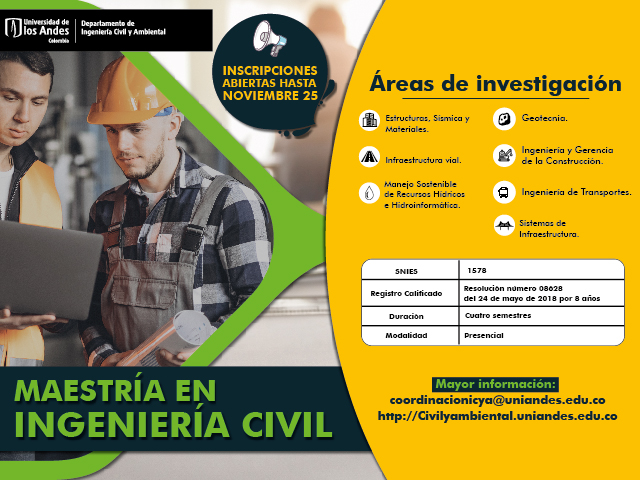 Inscripciones maestría ingeniería civil uniandes 2021-1